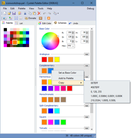 Context menu for working with individual colors in a scheme