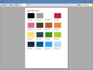 Previewing the output before printing a palette