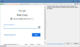 Using an embedded web browser to authenticate with the website to be copied