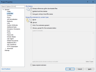A screenshot of the adjusted Local Files configuration settings