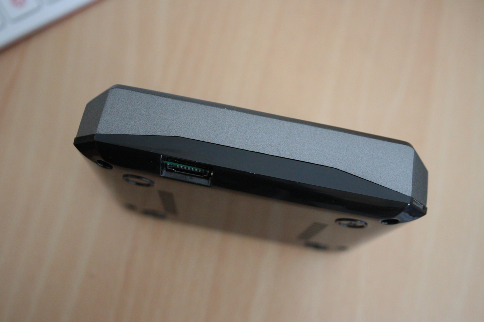 The front of the case, showing the SD card access
