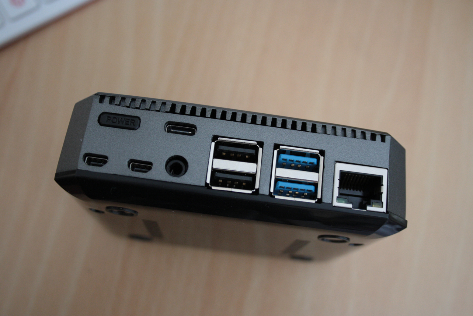 The rear of the case with all the ports on one side