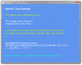 The font parser library was used by this OpenGL application that renders text