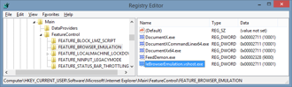 Browser emulation support is configured in the Registry