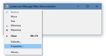 An example of system menu modifications using a message filter to intercept the WM_SYSCOMMAND message