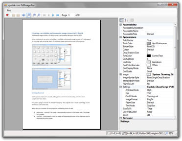 A sample application demonstrating displaying a PDF file in the ImageBox control