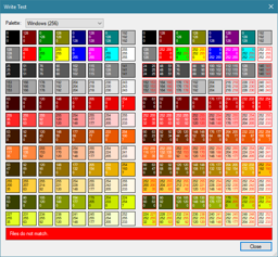 An example of converting a 24-bit palette to 18-bit and how the colours differ slightly